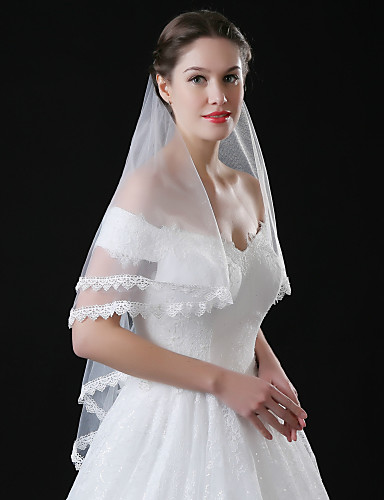 Einschichtig Spitzen-Saum Hochzeitsschleier Gesichts Schleier Mit Applikationen Stickerei Spitze Tüll