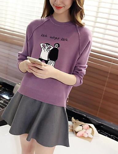 Damen Standard Pullover-Lässig/Alltäglich Einfach Solide Gestreift Druck Rundhalsausschnitt Langarm Baumwolle Herbst Winter Mittel