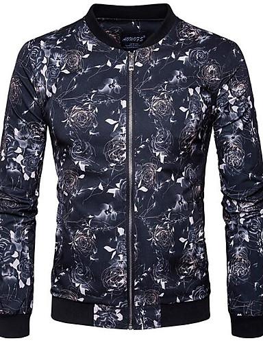 Herren Solide Druck Einfach Lässig/Alltäglich Jacke,Ständer Herbst Langärmelige Standard Baumwolle Polyester