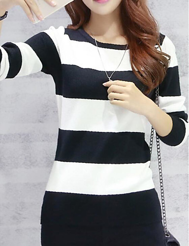 Damen Standard Pullover-Lässig/Alltäglich Einfach Solide Gestreift Rundhalsausschnitt 3/4 Ärmel Andere Sommer Herbst Dick Mikro-elastisch