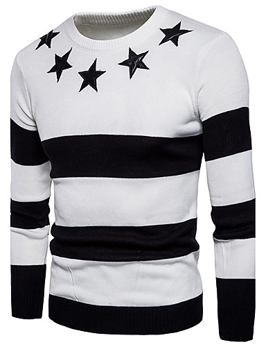 Men's Basic / Street chic Long Sleeve Pullover - Color Block Round Neck