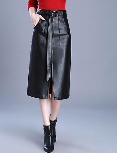 abordables Jupes-Femme Grandes Tailles Quotidien Polyuréthane Moulante Jupes - Couleur Pleine Fendu Hiver Noir M L XL