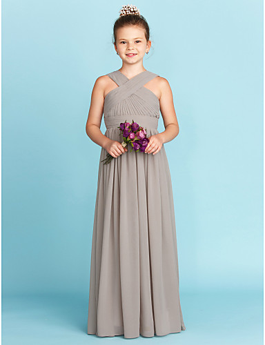 ece44953d706d A-Line / Princess V Neck Floor Length Chiffon Junior Bridesmaid Dress with  Sash / Ribbon / Criss Cross by LAN TING BRIDE® / Wedding Party / Open Back
