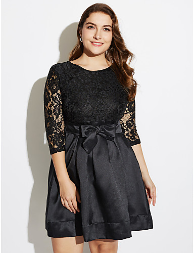 3be97093acb Women s Lace Plus Size Going out Sophisticated Lace Little Black Skater  Dress - Solid Colored Boat Neck Spring Black XXXL XXXXL XXXXXL