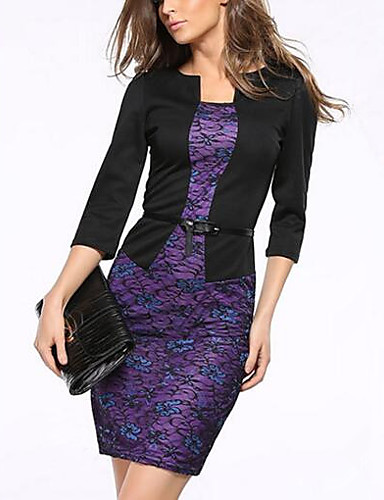 Women's Going out Bodycon Dress Lace / Print Square Neck