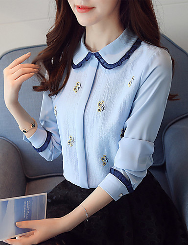 Women's Work Blouse - Embroidery Shirt Collar / Spring / Fall