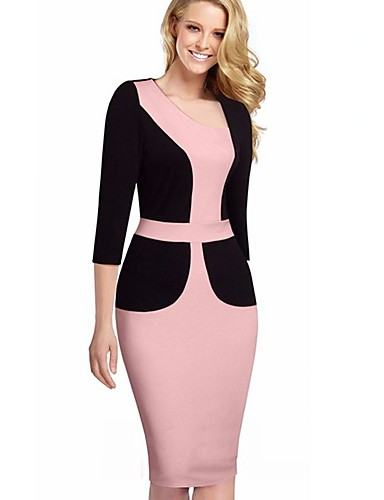 Women's Plus Size Work Cotton Slim Bodycon / Sheath Dress - Color Block