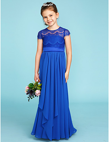 A-Line / Princess Crew Neck Floor Length Chiffon / Lace Junior Bridesmaid Dress with Bow(s) / Sashes / Ribbons by LAN TING BRIDE® / Wedding Party / See Through