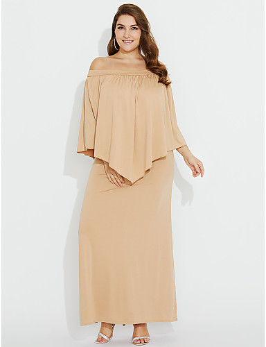 0b553d6a642e Women s Off Shoulder Plus Size Daily Club Maxi Sheath Dress - Solid Colored  Ruched Boat Neck