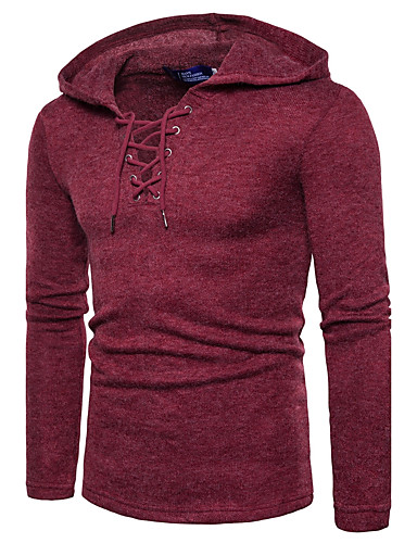 Men's Daily Active / Street chic Solid Colored Long Sleeve Regular Pullover, Hooded Fall / Winter Wine / Light gray / Royal Blue L / XL / XXL