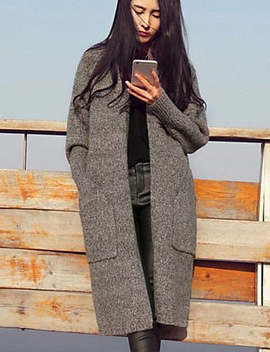Women's Going out Casual Long Sleeve Wool Long Cardigan - Solid Colored V Neck / Spring