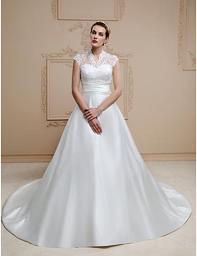 74f691377f Corte en A Cuello Alto Capilla Encaje   Satén Vestidos de novia ...