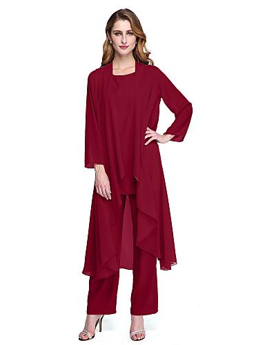 voordelige Tot $99,99-pantsuit Scoop Neck Tot de enkel Chiffon Bruidsmoederjurken met Plooien door LAN TING BRIDE® / Wrap inbegrepen