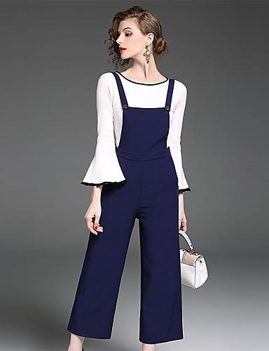 billige Dametopper-Dame Arbeid T-skjorte Bukse Ensfarget