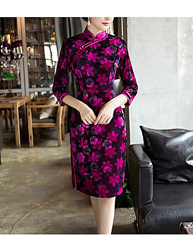 Women's Going out Cute Chinoiserie Bodycon Dress - Floral Geometric Split High Rise Stand