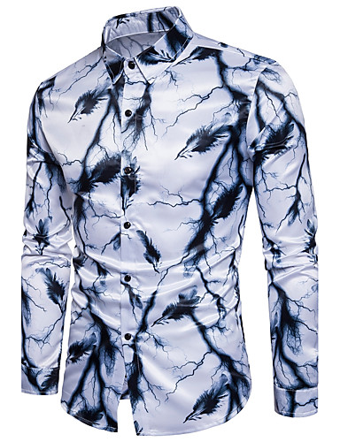 Men's Active Cotton Slim Shirt - Graphic Print Classic Collar / Long Sleeve