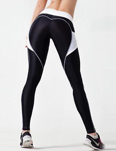 billige Tights til damer-Dame Sexy Sydd Blonde / Sporty Tights - Fargeblokk Høy Midje Svart M L XL / Skinny