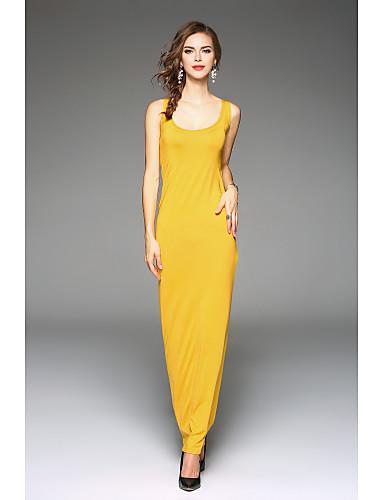 voordelige Maxi-jurken-Dames Slank Ruimvallend Jurk - Effen Maxi