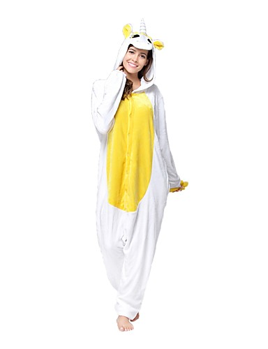 d06874c5a3 Adults  Kigurumi Pajamas Unicorn Onesie Pajamas Flannel Toison White    Green   Yellow Cosplay For Men s Women s Animal Sleepwear Cartoon Festival    Holiday ...