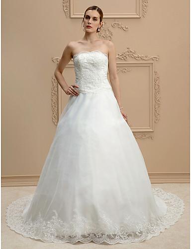 Báli ruha Pánt nélküli Udvari uszály Csipke / Organza Made-to-measure esküvői ruhák val vel Gyöngydíszítés / Rátétek által LAN TING BRIDE® / Open Back