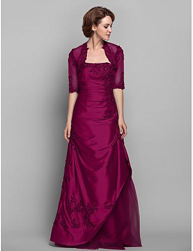 49803717bf77 Χαμηλού Κόστους Φορέματα για τη Μητέρα της Νύφης-Γραμμή Α Στράπλες Μακρύ  Ταφτάς   Δαντέλα