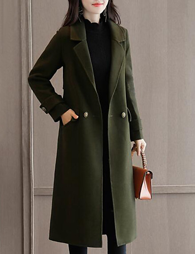 Women's Work Cute Street chic Plus Size Coat - Solid Colored Peter Pan Collar