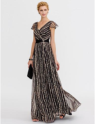 Linha A Decote V Longo Chiffon / Renda Evento Formal Vestido com Estampa / Faixa / Fita de TS Couture®