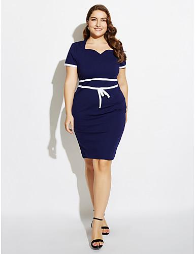 Damen Alltag Freizeit Übergrössen Bodycon Übers Knie Kleid Solide Quadratischer Ausschnitt Kurzarm