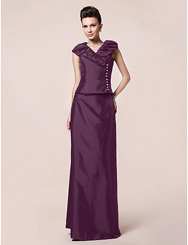 Sheath / Column V Neck Floor Length Taffeta Mother of the Bride Dress with Buttons Draping by LAN TING BRIDE®