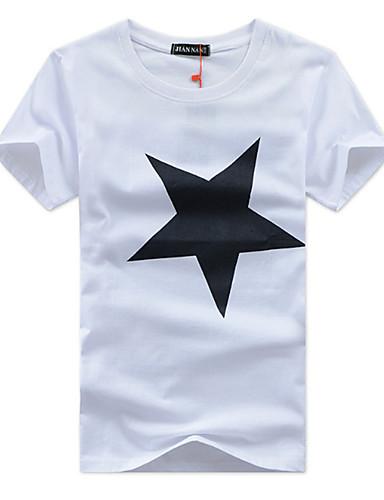 voordelige Heren T-shirts & tanktops-Heren Actief Grote maten - T-shirt Katoen, Sport Geometrisch Ronde hals Zwart / Korte mouw / Lente / Zomer / Herfst