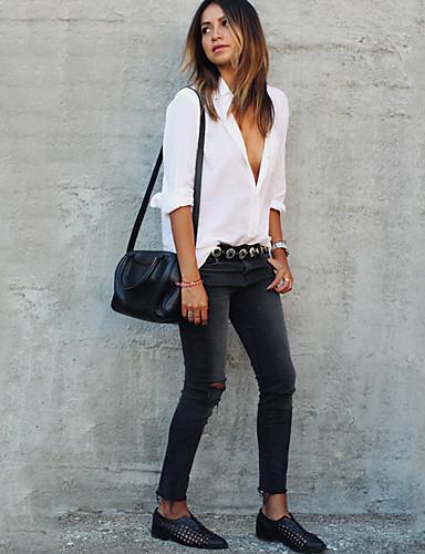 abordables Camisas y Camisetas para Mujer-Mujer Chic de Calle Festivos Camisa, Cuello Camisero Un Color Blanco XL / Otoño