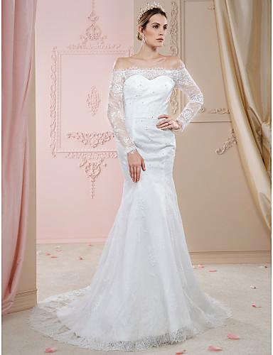 Sellő fazon Aszimmetrikus Udvari uszály Csipke Made-to-measure esküvői ruhák val vel Rátétek / Gombok / Kristály díszítés által LAN TING BRIDE® / Illúzió / Open Back / Royal Style