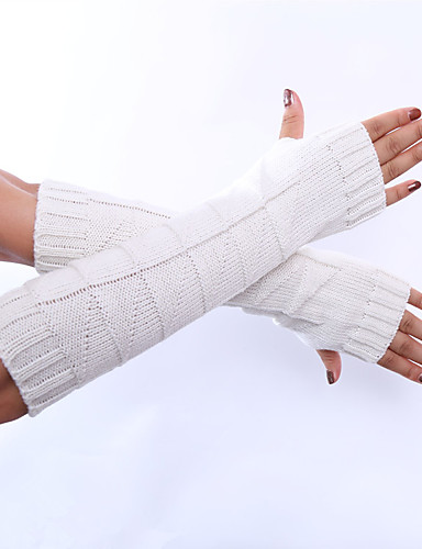 Women's Winter Gloves Elbow Length Half Finger Gloves - Solid Colored