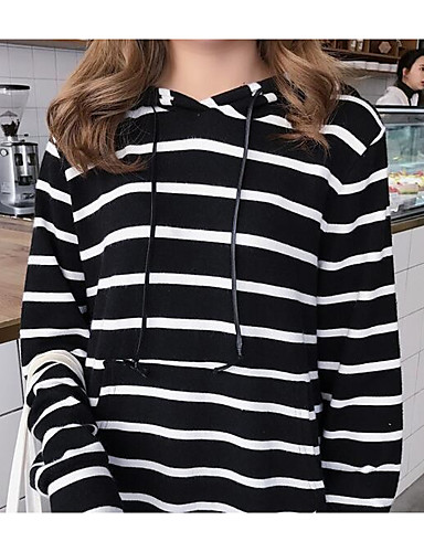 Women's Long Sleeves Cotton Long Hoodie - Striped