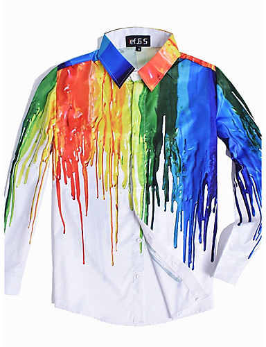 Men's Club Punk & Gothic Street chic Plus Size Slim Shirt - Color Block Rainbow