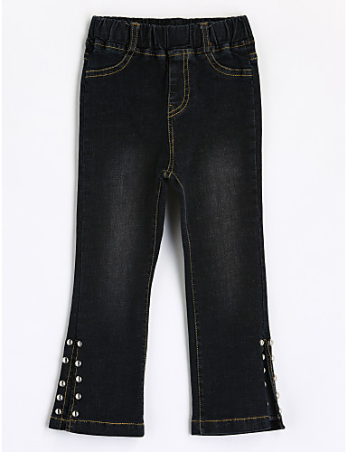 Girls' Solid Jeans, Cotton Fall Black