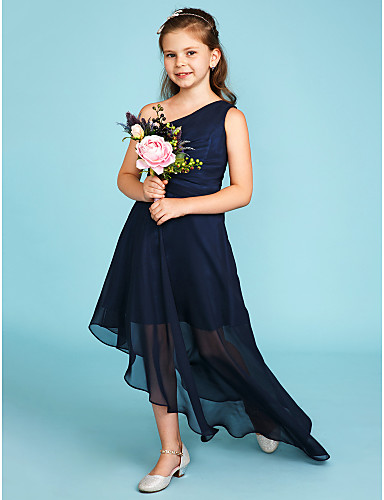A-Line One Shoulder Asymmetrical Chiffon Junior Bridesmaid Dress with Side Draping by LAN TING BRIDE® / Wedding Party