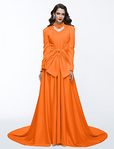 a06e9b1cf2314 A-الخط رقبة عالية ذيل محكمة ستان حفلة رسمية فستان مع شريطة   طيات بواسطة TS  Couture®