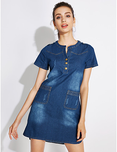 fbd21219a41 Women s Daily Street chic Plus Size Shift Denim Dress