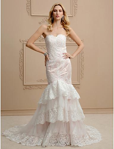 Sellő fazon Pánt nélküli Udvari uszály Csipke Tüll Egyéni esküvői ruhák val vel Rátétek Fodrozott által LAN TING BRIDE®
