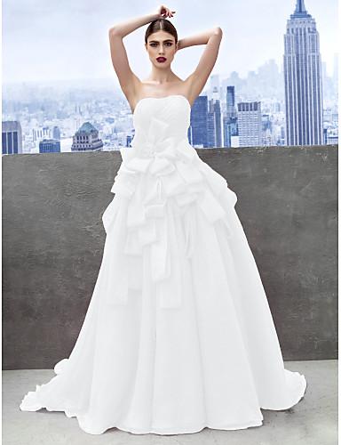 abordables robe grande taille-Robe de Soirée Coeur Traîne Chapelle Organza Fête scolaire / Soirée Formel Robe avec Robe pan volant par TS Couture®