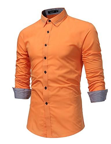 abordables Camisas de Hombre-Hombre Tallas Grandes Algodón Camisa Un Color Negro XL / Manga Larga / Primavera / Otoño