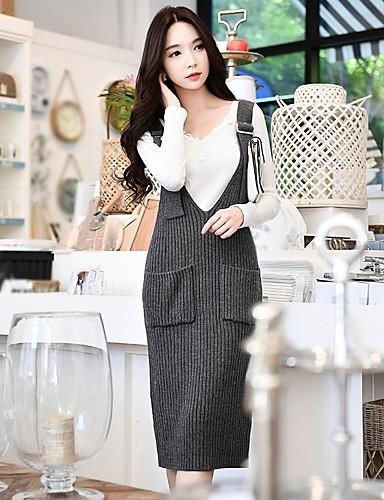 1485bafc2 Mulheres Para Noite Vintage   Moda de Rua Bainha   Tricô Vestido Sólido  Decote em V