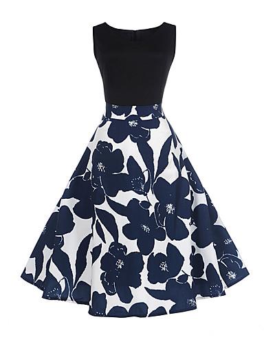 0110ed4d0c5 Mujer Vintage Algodón Vaina Corte Swing Vestido - Estampado