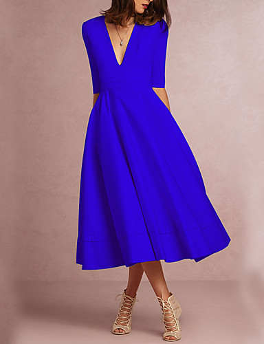 497c2eea36d8 Women s Plus Size Party Going out A Line Dress - Solid Color White Deep V  Spring Purple Green Wine XL XXL XXXL