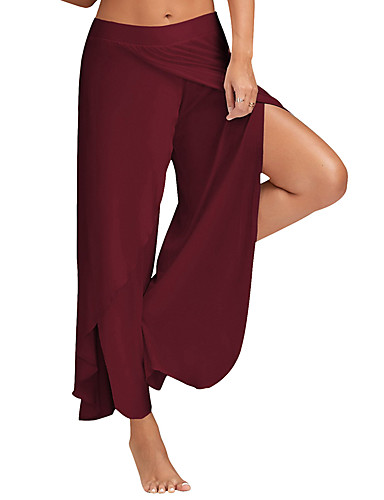 Women's Active Loose / Wide Leg / Sweatpants Pants - Solid Colored Black