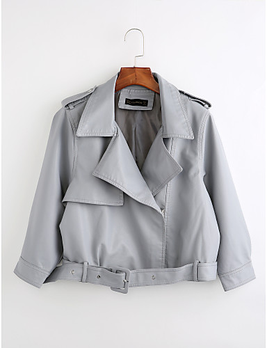 Women's Daily Vintage Winter Short Leather Jacket, Solid Colored Peaked Lapel Long Sleeve PU Pink / Beige / Light Blue