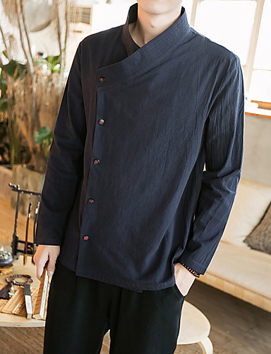 Men's Vintage / Casual / Boho Plus Size Cotton Slim Shirt - Solid Colored / Chinoiserie / Long Sleeve / Chinoiserie