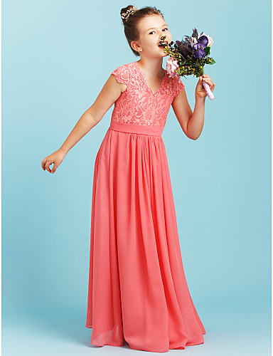 7e8501650819 A-Line / Princess V Neck Floor Length Chiffon / Lace Junior Bridesmaid Dress  with Sash / Ribbon / Pleats by LAN TING BRIDE® / Wedding Party 6201128 2019  – ...