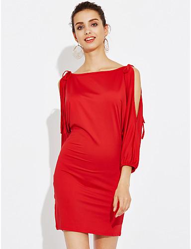 Dámské Bavlna A Line Šaty - Jednobarevné Mini